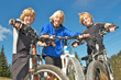 Drei Mountainbike-Freunde