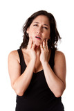 Woman with dental jaw pain poster