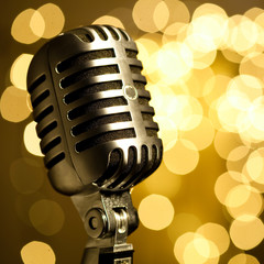 vintage microphone on stage