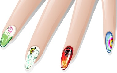 Unghie Decorate-Nail Art-Vector