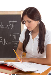 Hispanic College student college student woman studying math exa