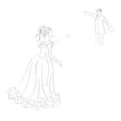 Vintage, hand drawn illustration of woman and man