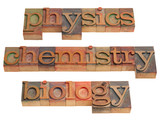physics, chemistry and biology poster