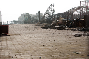 Remains of Hastings Pier just after fire, October, 2010