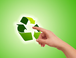 Hand pressing recycle icon