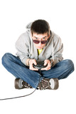 Young man in sunglasses with a joystick poster