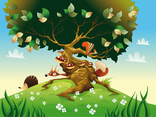Cartoon landscape with animals. Vector illustration