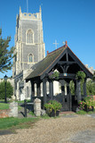 English Parish church with lych gate in foreground poster
