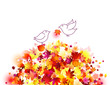 autumn background with birds and fallen leaves - vector
