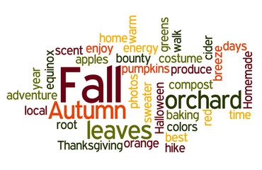 Fall Colors Wordcloud in Red and Orange
