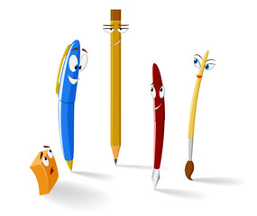 Set of funny cartoon pens and pencil