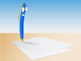 Cartoon character pen on the paper sheet