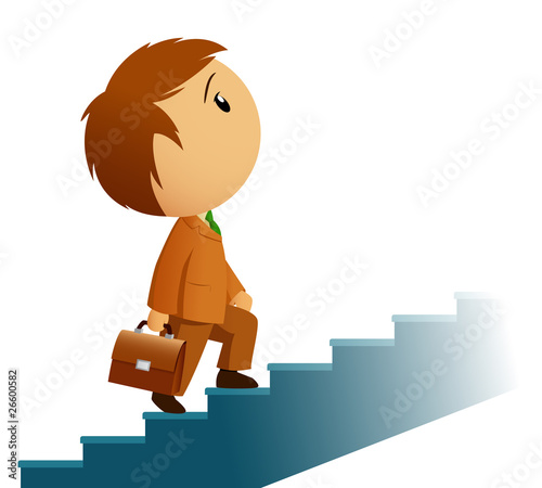 Male businessman with briefcase climb stairs