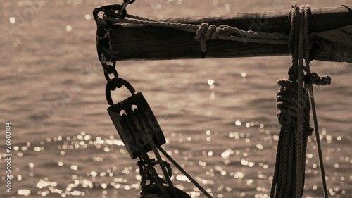 Ropes and tackle on an old sailing ship. Vintage style.