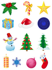 christmas and new year icons vector illustration
