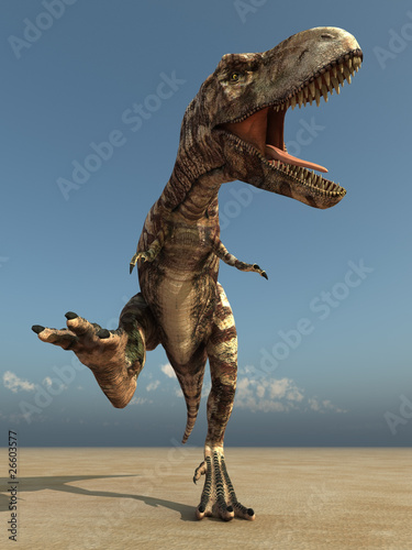 running dinosaur in desert