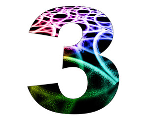 3 number with abstract design