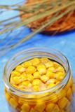 Preserved sweetcorn in jar