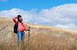 Tourist woman in mountains