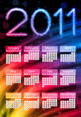 Colorful 2011 Calendar on Black Background. Rainbow Colors