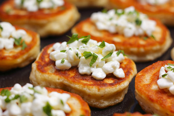 Blinis with cottage cheese