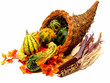 Colorful thanksgiving cornucopia