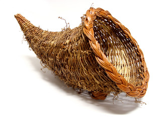 Empty cornucopia basket for thanksgiving