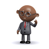 3d Black businessman says hi