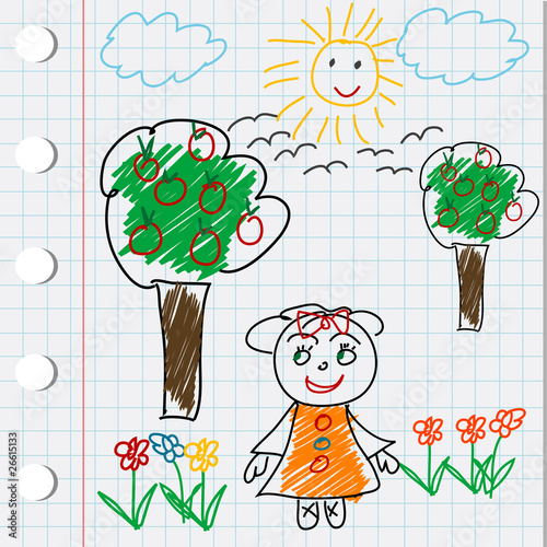 cartoon trees and flowers. Cartoon doodle drawing with gril, flowers and trees