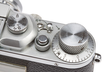Dials and knobs on an old fashioned camera