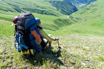 Happy hiker girl.