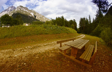 Bench on the Dolomites Mountains, Italy