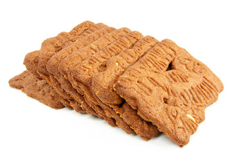 Dutch speculaas biscuit over white background