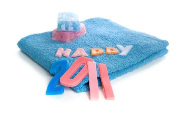 happy 2011, written in soap letters