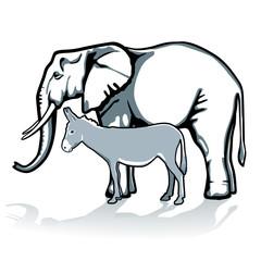 Elefant und  Esel