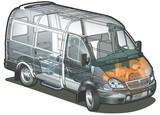 Vector delivery / cargo van infographics cutaway poster