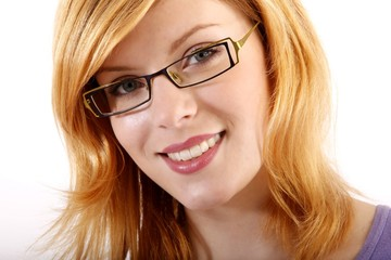 young beautiful woman with eyeglasses
