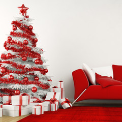 White and red christmas tree in a modern home