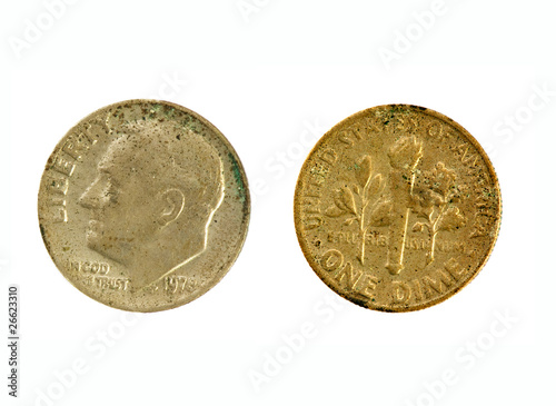 Old quarter dime