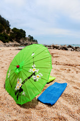 Tropical parasol at the beach