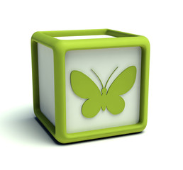 Eco green butterfly cube