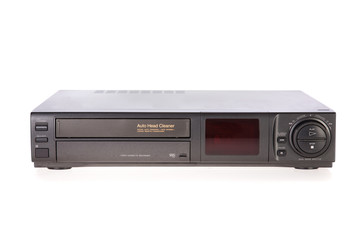 Old VCR, Video Cassete Recorder isolated on white