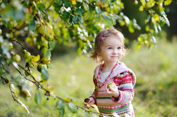 Adorable toddler girl outdoors