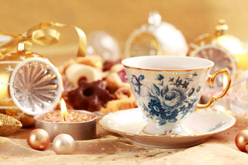 Tea for Christmas with sweet cookies