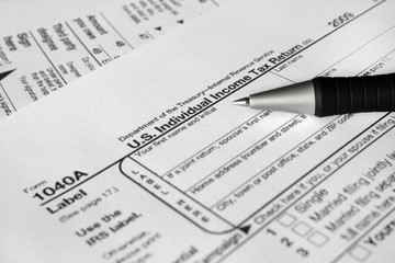 U.S. income tax form 1040X close-up.