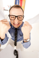 funny picture of businessman in office