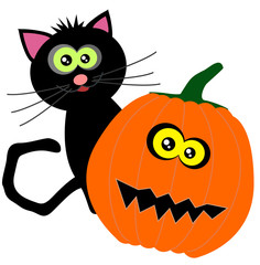 halloween (white background) cat and pimpkin