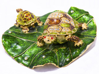 Feng shui turtles on white background
