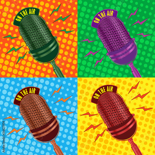 old vintage microphone background