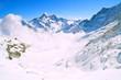 Mist at Jungfraujoch, part of Swiss Alpine Alps Switzerland.